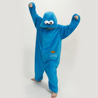Cookie Monster Unisex Adult Anime Kigurumi Pajamas Cosplay Costume Fancy Dress ADULT Onesuit