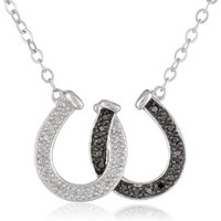 """XPY Sterling Silver and Black and White Diamond Double Horseshoe Pendant Necklace (.13 cttw, I-J Color, I3 Clarity), 16.5"""""""