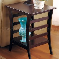 WALNUT FINISH END TABLE MAGAZINE SHELF BEDROOM LIVING ROOM ACCENT DISPLAY DECOR