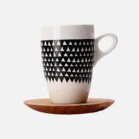 Triangle Mug & Saucer – Black & White