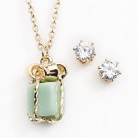 LC Lauren Conrad Gold Tone Simulated Crystal Gift Pendant & Stud Earring Set