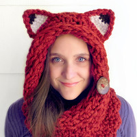 Fox Cowl Circle Scarf Hood in Chuncky Cranberry Red Yarn, Reversible with two Textures and a Natural Coconut Button