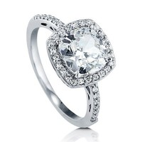 BERRICLE Cushion Cut Cubic Zirconia 925 Sterling Silver Halo Promise Engagement Wedding Ring Band 1.67 Ct Size 6