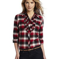 Jones New York Women&#x27;s Petite Plaid Ruffle Front Shirt