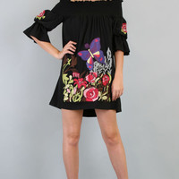 VaVa by VOOM Black Off The Shoulder Butterfly Embroidered Dress- XS to L - Unique Vintage - Prom Dresses, Wedding Dresses, Designer Dresses