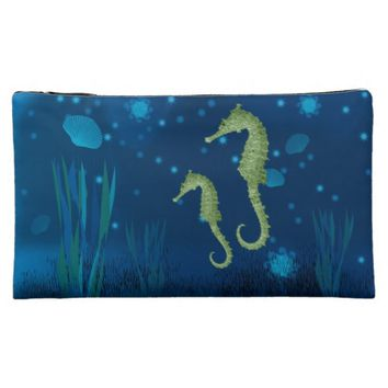 Seahorses cosmetic bag
