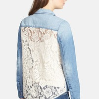 BP. Lace Back Chambray Shirt (Juniors) | Nordstrom