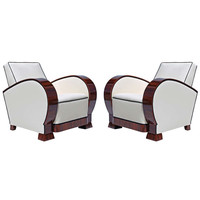 Pair of Art Deco Walnut Armchairs