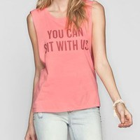 Element Kind Campaign Sit With Us Womens Muscle Tank Peach  In Sizes
