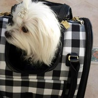M. Isaac Mizrahi Gingham Dog Carrier at BaxterBoo