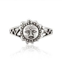 Chuvora 925 Sterling Silver Celtic Sun Face Vintage Style Ring for Women - Nickel Free