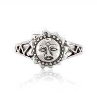Chuvora 925 Sterling Silver Celtic Sun Face Vintage Style Ring for Women - Nickel Free - Size 8