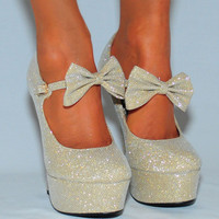 GLITTER SPARKLY MARY JANES BOW ANKLE STRAP COURT SHOES PLATFORMS HIGH HEELS SIZE