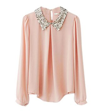 Zeagoo Women's Sequins Peter Vintage Pan Collar Puff Sheer Sleeve Loose Blouse Large Pink