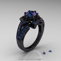 Art Deco 14K Black Gold 1.0 Ct Alexandrite Wedding Ring, Engagement Ring R286-14KBGAL