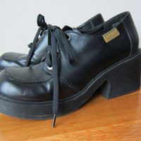 90s Candies Chunky Black Platform Wedge Oxford Shoes -- Clueless Style, Grunge Babydoll, Club Kid Fashion, Witchy Goth Shoes -- Size 8