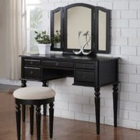 Vanity and Stool Set with Foldout Mirror in Black Finish