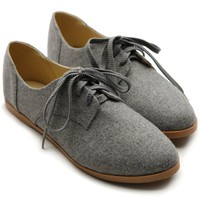Ollio Women Classic Flat Loafer Lace Up Faux Suede Oxford Shoes (8.5 B(M) US, Grey)
