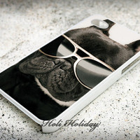 French Bulldog Glasses - Print on hard plastic - iphone 4 case - iphone 4s case - iphone 5 case - samsung case - iphone