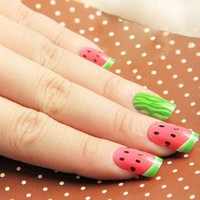 24pcs Watermelon Lovely Cute Girls Lady Multiple Sets Healthy Looking Acrylic Style Artificial Full False Nails Nail Art Tips