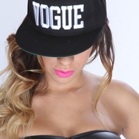 Black White Embroidered VOGUE Snap Back Hat