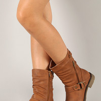 Club-70 Zipper Buckle Riding Mid Calf Boot