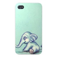 Apple Iphone Custom Case 5 / 5s White Plastic Snap on - Cute Sketched Baby Elephant Artwork