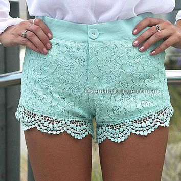 TWEE LACE SHORTS , DRESSES, TOPS, BOTTOMS, JACKETS & JUMPERS, ACCESSORIES, 50% OFF SALE, PRE ORDER, NEW ARRIVALS, PLAYSUIT, COLOUR, GIFT VOUCHER,,SHORTS,Green,LACE Australia, Queensland, Brisbane