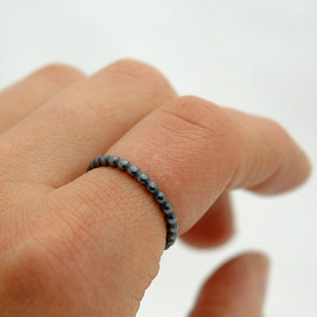 Oxidized Simple Sterling Silver Stack Bead Ring - Beaded Wire Ring Above Knuckle Ring - Basic Dots Ring, Ball Ring, Black Ring