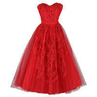 Vintage 1950's Red Tulle Sequins Cocktail Dress
