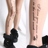 FRUiTs Kera Chic Fashion Script Text Tattoo Pantyhose Hoisery Black/Nude Sheer