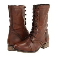 Women's Shoes Steve Madden Troopa Leather Lace Up Combat Boots Brown *New*