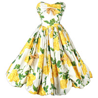 Vintage 1950's Yellow Roses Bubble Hem Cocktail Dress