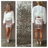 Ivory Long Sleeve Split Back Into Sequin Dress