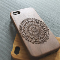 Walnut wood iphone 5 case iphone 5s case floral iphone 5 case