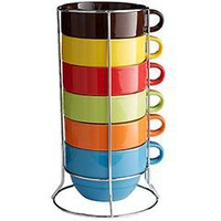 Assorted Cafe Au Lait Mugs with Stand