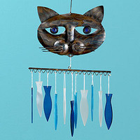 Glass and Metal Cat and Fish Windchimes