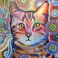 """Amy Giacomelli Cat art ... Abstract cat Art ... Olivia, 8 1/2"""" x 11"""" Print of cat painting"""