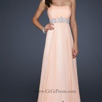 Pinks Empire Strapless Floor- length Chiffon Prom Dress Style YFAM021,2014 Prom Dresses