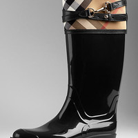 House Check Buckle Detail Rain Boots