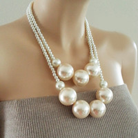 Pearl Bubble Necklace - Wedding Lage Pearl Ivory Necklace for Brides Bridesmaids
