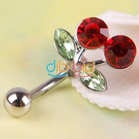 Pretty Rhinestone Red Cherry Navel Belly Button Barbell Ring Body Piercing