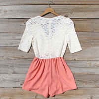 Night Tide Lace Romper in Peach