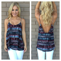 Multi Color Geo & Zigzag Low Back Tank
