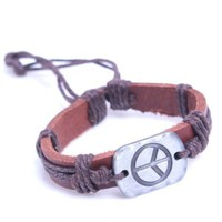 Amazon.com: Engraved Hippy Peace Charm Pendant on Handmade Leather Bracelet with Cord Rope - Brown: Jewelry
