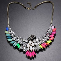 Vintage Colorful Rhinestone Eagle Bib Statement Chain Necklace Jewelry DDStore