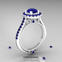 Caravaggio 14K Ceramic White Gold 1.0 Ct Blue Sapphire Engagement Ring, Wedding Ring R621-14KCWGBS