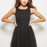 Pleat Front Dress in Polka Dot - Black Multi