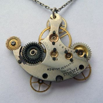 Gear Pendant Skyboat Necklace by amechanicalmind on Etsy