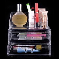 Beauty World® Multifunctional Makeup Organizer Cosmetic Acrylic Clear Case Display Box Jewelry Storage Holder with Special Brand Gift
